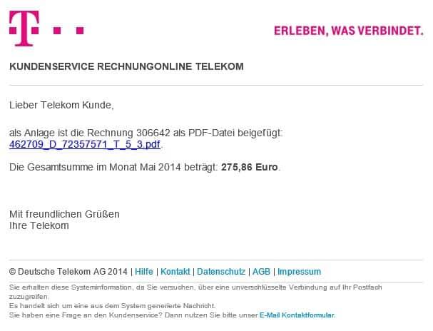 Gefälschte Telekom Rechnung Lädt Trojaner Rechnungonline Monat Mai