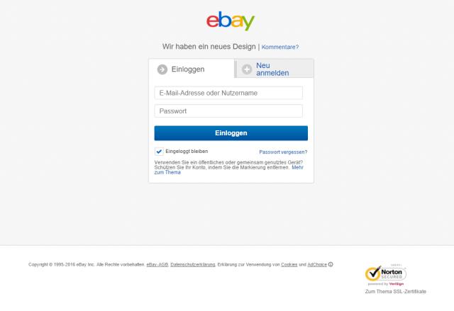 ebay phishing seite achtung!